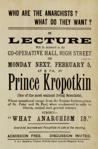 A poster announcing a lecture on anarchism, from 1894.